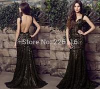 2014 Hot Sale New Design Sex Spaghetti Sweetheart Backless Sleeveless Floor Length Long Satin Formal Prom Gowns Dresses Gownsbri