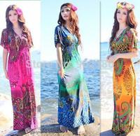 Women Bohemian Print Dress Short Sleeve Print V-Neck Beach Womens Maxi Dresses 828