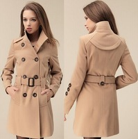 abrigos mujer casacos femininos 2014 winter women's new slim collar double-breasted coat / fashion ultra for warm k8145