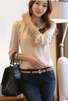 [S1398]2014 spring new fashion OL commuter thicker Korean Slim shirt bottoming shirt chiffon long sleeve shirt
