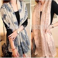 Special  offer wholesale 2014 new Korean female retro print blue and white velvet chiffon scarf long scarf