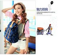Fashion wholesale 2014 high-grade canvas laptop bag leisure school bag colleage grils backpacks F-176