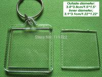 wholesale 100pcs/lot acrylic blank photo keychain frame keyring-square shape size 3.8 * 3.8cm,diy yourself photo keychain