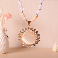Round White Crystal Necklaces Pendants Fashion Jewelry Necklace Pendant