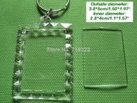 wholesale 100pcs/lot acrylic blank photo keychain keyring-Rectangular lace shape size 3.9 * 5cm,diy yourself photo keychain