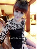 New 2014 Women Summer Dress Korean High Quality Full Sleeve O-neck Leopard Plaid Knitted  Girl Dress Free Shipping 520