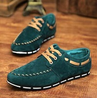 2014 Fashion nubuck leather men's flats Hot man casual shoes Sneaker Hot new design Spring sewing lace-up Sport shoes Loafer