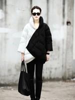 2014 NEW Winter Plus Size Women's Jacket Fashion Medium-Long Quilt Black And White Color Block Decoration Duck Down Coat WZ48