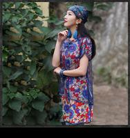 wholesale 2014 Summer women vintage print patchwork two-piece dress A6022