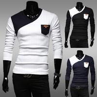 Hot selling! free shipping 2014 new arrive classic color block men basic t shirt long-sleeve casual slim v-neck men t-shirt