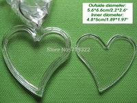 wholesale 100pcs/lot acrylic blank photo keychain frame keyring-heart2 shape size 5.2 * 5.7cm,diy yourself photo keychain