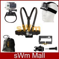 New Go pro Sj4000 Accessories Head Belt+Chest Strap+Wrist Belt+Bag+Camera Standard Frame Mount Gopro HD Hero 3/3+ Free shipping