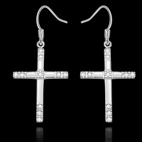 Wholesale Fashion Jewelry, 925 Silver Cross Crystal Drop Earrings For Women Clear Zircon Dangle Earring E518