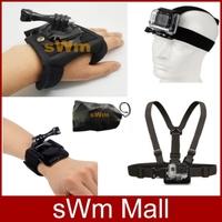 Go pro Sj4000 camera Accessorie Head Belt+Chest Belt+Wrist Strap+Bag+360 Degree Rotation Hand Strap Gopro HD Hero 3/2/1/3+