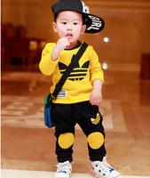 Hot sale 2014 Autumn leisure baby boys clothing set children's brands suit boy T shirt+ pants girl kids clothes