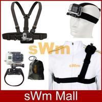 Go pro Sj4000 camera Accessorie Head Belt+Chest Belt+Wrist Strap+Bag+Single Shoulder Strap Gopro HD Hero 3/2/1/3+Free shipping