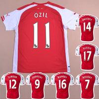 GUNNER HOME RED 2014-2015 Soccer jersey football kits Shirts Uniform ALEXIS GIROUD CHAMBERLAIN PODOLSKI OZIL RAMSEY ROSICKY