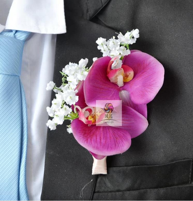 Free shipping the corsage/ boutonniere Wedding or conference host supplies The simulation butterfly orchid and Gypsophila(China (Mainland))