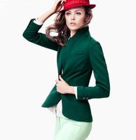 2014 England style jacket blazer  women elegant slim Jacket Elastic suit blazer 2 button shawl cardigan coat 2 colors 6 sizes