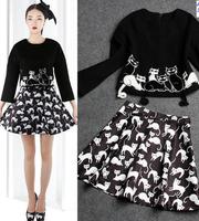 2014 hot sale fashion women clothing set skirt suits  embroidery stereoscopic print kitty blouse + skirts  ka084