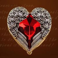 0374 European and American retro happy angel wings peach heart of hearts earrings ruby earrings shine
