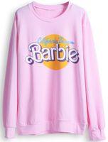 2014 New auturn winter Women hoodies Clothes Sportswear Casual Cute Pink Long Sleeve Barbie Letters Print Pullover Sweatshirt
