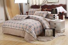 Blue Plaid bedding set,4 pcs, including 1*Duvet cover 1*bed sheet 2*pillowcase, free shipping(China (Mainland))