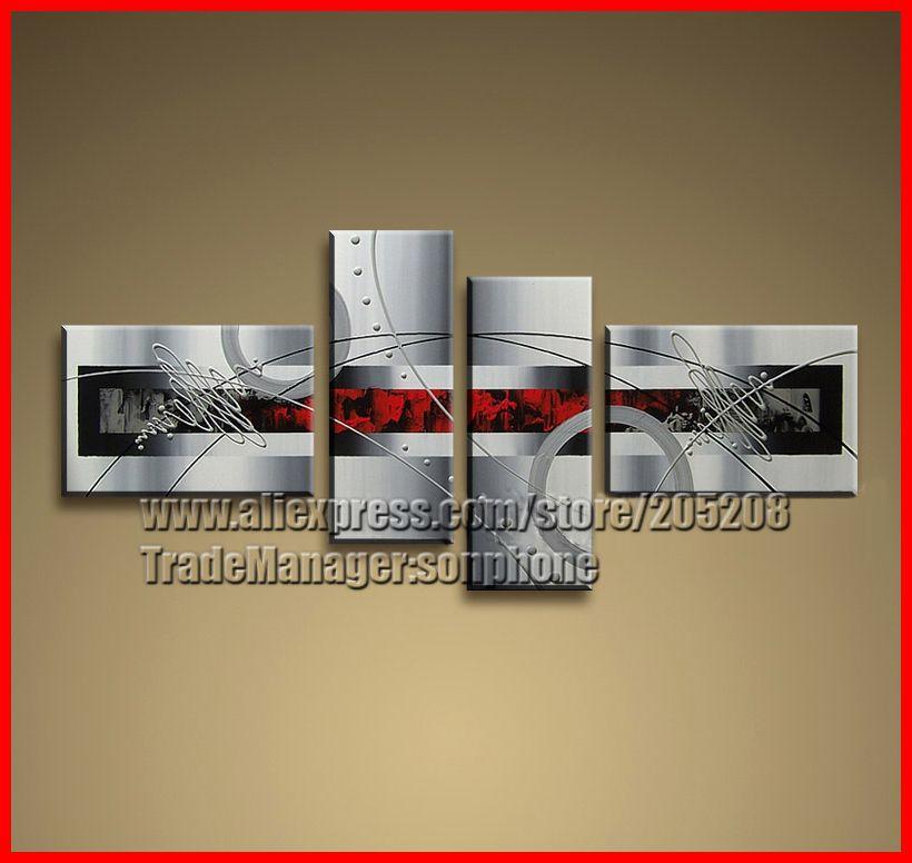 Emoldurado 4 painel de artesanato grande Black White e Red Wall Art pintura moderna da lona imagem decoração Quadro de Parede XD02432(Hong Kong)