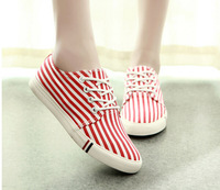Free shipping ! 2014 new summer women casual shoes / striped canvas shoes / lazy shoes