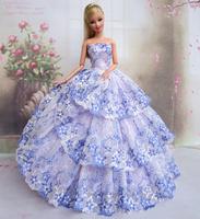 Blue Flower Dress Clothes For Barbie Dolls