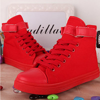 Free shipping ! 2014 autumn women's solid color high-top canvas shoes / sweet flat casual shoes / Velcro student shoes