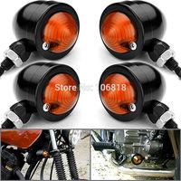 4x Black Bullet Turn Signals Billet Aluminum Orange Red Lens 8mm Thread for Sportster Softail Bobber Rod Shadow Vulcan V-star