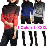Multi Chioce Hot Sale Women Cashmere Sweater Turtleneck Branch Print Gradient Color Design Pullover Sweaters Large Size XXXL