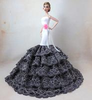 Fashion Grey Gown Dress For Boneca Barbie Doll