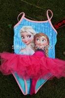 2014 new item girl frozen one piece tutu bikini elsa and anna costume kids swimwear 4pcs per lot