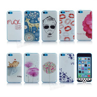 Plastic non-mainstream Cat kiss fish Sika Deer Flower man lipstick briefs phone case Hard cover for iphone 5C PT1313