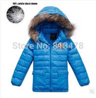Newest Winter 2014 Boys down jacket kids down parkas children's down jacket for boy child down coat raccoon fur short design