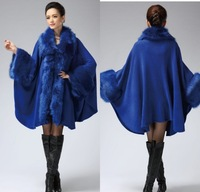 2014 new arrival women's fashion fox fur cloak plus size loose cape woolen outerwear fur  coat