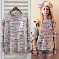 2014 South Korea brand New fashion autumn/winter women knitting coat Rainbow round collar sweater Ladies' pullover loose sweater