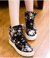 2014 New Free Shipping Fashion Floral Pastoral platform Sneakers female Casual High-top canvas Shoes for Woman