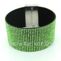 2014 Hit  Magnet Buckle Bracelet Hot Diamond Bracelet Fashion Is Full of Drill Wholesale Leather Bracelet