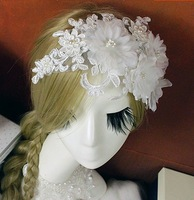 White lace wedding dress bridal flower hair accessories bridal headdress frontlet Korean flower head