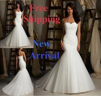 E5 2014 fashionable newest white bride mermaid wedding dress dresses fish tail train bridal gown gowns vestido de noiva