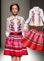 2014 spring summer women Heavy Industries embroidery long-sleeved blouse shirt + striped skirt suit ka081