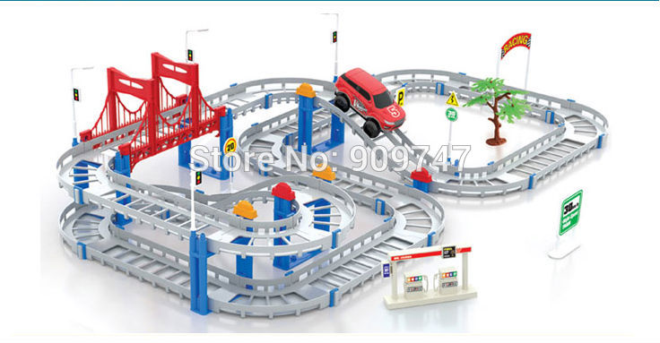 Hot Sell 3D Two-layer Spiral Track Roller Coaster Toy Electric Rail Car for Child Gift Free Shipping(China (Mainland))