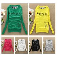 2014 new Simple Refresh Women's Ladies Cotton Letter Printed Sweatshirt Hooded cartoon Hoody Hoodies Coat tracksuits