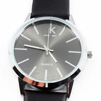 New Fashion PU Leather Wristband Round Shape Analog Quartz Eletronic Clock Mens Dress Wrist Watch