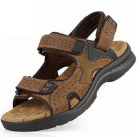 Summer 2014 men's first layer of cowhide casual sandals genuine leather open toe breathable outdoor beach sandals