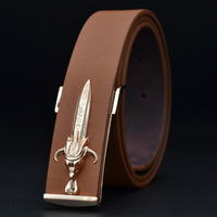 All-match white jeans strap smooth male belt buckle casual fashion formal commercial belt male