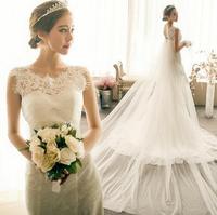 Fashion New Lace Vintage wedding dress 2014 Tailing mermaid wedding dresses White vestido de noiva romantic bridal gown W52